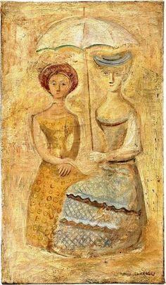 Due donne con ombrellino, c. 1937 by Massimo Campigli (Italian 1895 - 1971)