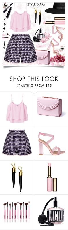 """Send My Love"" by thedistinctiveme ❤ liked on Polyvore featuring MANGO, H&M, Lauren Cecchi, Mother of Pearl, FOSSIL, Clarins, Victoria's Secret, shorts and pinkandblack"