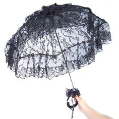HMS Victorian Parasol with Lace Adornments 24 Inch Diameter ($24) ❤ liked on Polyvore featuring accessories