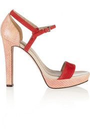 Jean Michel CazabatHaniba snake-effect leather and suede sandals