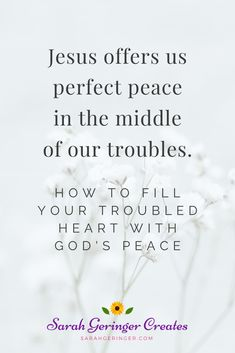 Is your heart troubled today? It's no secret that many are struggling. Just read the headlines. As the days get darker, our hearts can be weighed down with hurts and troubles. But Jesus offers us his perfect peace in the middle of our troubles. Christian Encouragement, Encouragement Quotes, Faith Quotes, Troubled Relationship Quotes, Quotes About Hard Times, Christian Faith, Christian Living, Perfect Peace, Identity In Christ