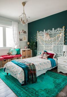 Kids boho inspired bedroom design with upcycled screen headboard deep teal wall star decals IKEA &; Kids boho inspired bedroom design with upcycled screen headboard deep teal wall star decals IKEA &; Kelsey Stevenson Emma's […] room decor teal Modern Bedroom Design, Bedroom Designs, Bedroom Ideas, Ikea Kids Bedroom, Bedroom Inspiration, Teal Walls, Teal Bedroom Walls, Teal Bedroom Decor, My New Room