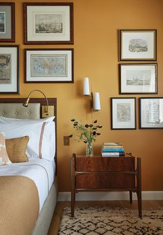 Shop Chairish, the design lover's curated marketplace for the best in vintage and contemporary furniture, decor and art. Home Bedroom, Home Living Room, Bedroom Decor, Design Bedroom, Bedroom Ideas, Bedroom Wall Colors, Yellow Walls, Home And Deco, My New Room
