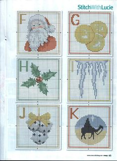 Christmas Alphabet #2 - Chart FGHIJK; thread key is on #6 - image only
