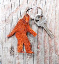 Bigfoot Sasquatch Keychain  Hand Tooled Leather by OneLaneRoad, $11.00