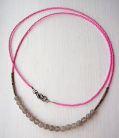 Long modern beaded necklace by pebble on Etsy, £24.00