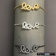 Tennis Yoga Bracelets. Gold Adjustable CZ Diamond Pave. Love Signs.