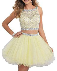 ec170d94f8 BessDress Short Two Piece Tulle Prom Dresses Beaded Bodice Homecoming Dress