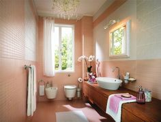 Bathroom, Extraordinary Peach Feminine Bathroom Decor In Small Room With Long Wooden Table And Wall Hook Also Elegant Mirror Plus Beautiful . Feminine Bathroom, Peach Bathroom, Small Bathroom, Natural Bathroom, Diy Bathroom Decor, Bathroom Colors, Bathroom Interior, Bathroom Ideas, Bathroom Wall
