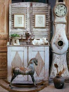 Rustic weathered toy horse cupboard and grandfather clock Vintage Furniture, Painted Furniture, Custom Furniture, Antique Rocking Horse, Rocking Horses, Grandmother Clock, Swedish Decor, Swedish Style, Swedish Design