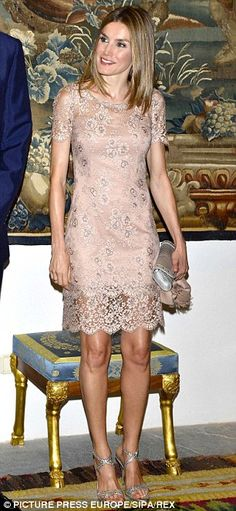 Letizia sparkles in silver sandals and Felipe Varela dress...