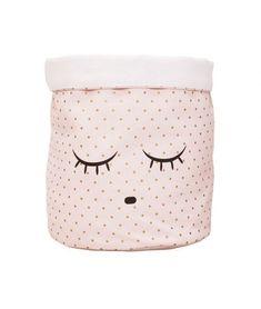 Livly - Sleeping Cutie Canvas Basket - Medium - Pink - Willow + Harper Basket, Sleep, Canvas, Medium, Pink, Tela, Rose, Baskets, Canvases