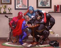 Ultra Retired Super Heroes. Damn Batman got fat!