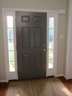 Inside of Front Door Painted - Benjamin Moore Chelsea Gray. Makes me want to paint the inside of our front door. Inside Front Doors, Grey Front Doors, Painted Front Doors, Exterior Front Doors, The Doors, Grey Exterior, Interior Door Colors, Painted Interior Doors, Grey Interior Doors
