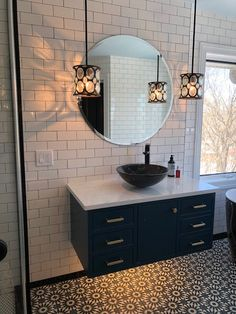 Bathroom remodel, what a difference tile and lighting makes. The tiles is so beautiful. Bathroom Designs, Bathroom Interior Design, Flooring Ideas, Closets, Things That Bounce, Toilet, Bathrooms, Decorating, Lighting