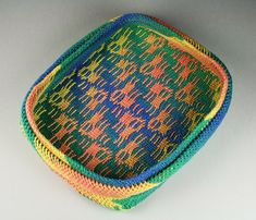 "STAGGERED Ply-split basket by Barbara J. Walker 2"" H x 6.75"" W x 8"" D; linen"
