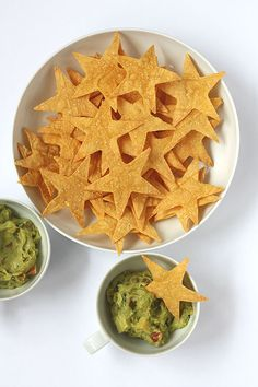 Cut stars out of flour tortillas and then bake for dipping with salsa (for the red color); sour cream type tip for the white color; and ? for the blue color.  Any suggestions?