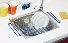 Over-The-Sink-Kitchen-Dish-Drainer-Rack-Durable-Chrome-plated-Steel
