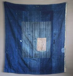 Japanese Antique Indigo dye cotton Boro textile by abrshop on Etsy