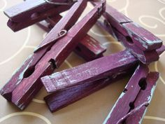 Plum & Sky (Purple/French Blue) Distressed Clothes Pins - Shabby Chic 6 Pack