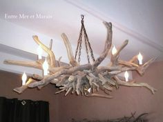 Risultati immagini per lustre bois flotté Driftwood Chandelier, Driftwood Wall Art, Driftwood Projects, Diy Chandelier, Rama Seca, Rustic Lamps, Seashell Crafts, Furniture Sale, Art Decor