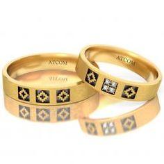 Verighete din aur galben cu motive traditionale romanesti Contesse