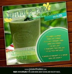 The Natural C-Dew Juice Recipe  Wanna have a blast of energy and vitamin C for the whole day? This juice is perfect for that! #cucumber #honeydew #pear #lime #mint