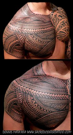 Incredibly detailed chest and shoulder tattoo.