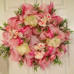 Pink Mother's Day deco mesh wreath!