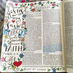 Reading Ephesians today #illustratedfaith #illuminatedjournaling #ourgratefulhearts #ephesians #grace