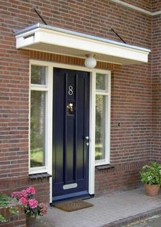 shared by www. Exterior House Colors, Exterior Doors, Porch Roof, Door Steps, House With Porch, Brick Building, House Extensions, Side Door, Facade House