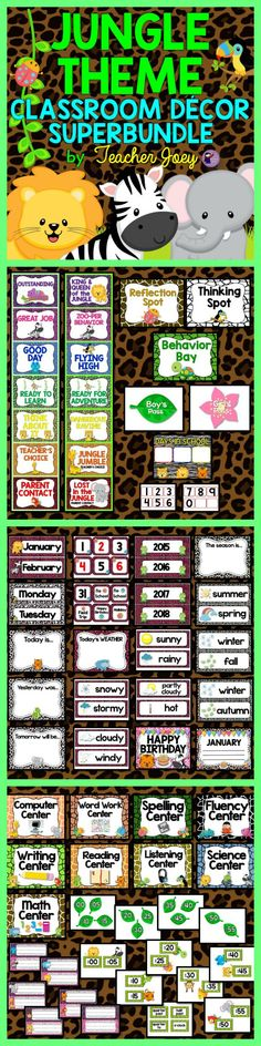 Jungle Theme Classroom Decor  https://www.teacherspayteachers.com/Product/Jungle-Theme-1988909
