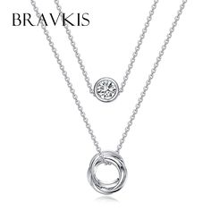 BRAVKIS platinum plated double layer chain necklace for women rhinestone crystal pendant necklaces bijoux collare mujer. Click visit to buy #PendantNeklace