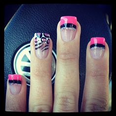 My preference would be just pink & silver on the tips, but keep accent nail just the way it is.