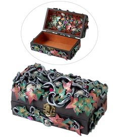 """Design Idea G93M """"Hidden Secret"""" a keepsake box by Designer Artist Valentina Giaconia. Fire Mountain Gems and Beads' Contest 2016 featuring Creative Clays - Category: Home Decor and Doll - Silver Medal Prize Winner (Tie).  #jewelrymakingcontest #polymerclay #jewelrydesign #jewelryart #clayart #diyjewelry"""