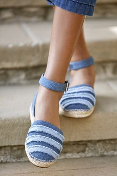 Blue two-piece frayed espadrille flat | Sole Society Stacie