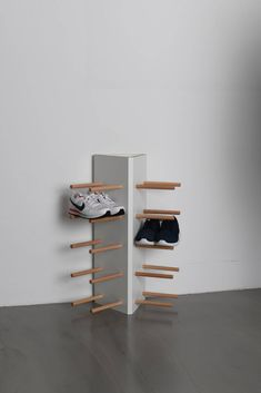 Buy our - Shoe stand (Schuhständer), shoe rack (Schuhregal): Use to hold messy shoes and designed for your entrance, made of wooden pipes, so check it out on the Tidyboy store. Best Shoe Rack, Diy Shoe Rack, Shoe Storage, Shoe Racks, Paper Storage, Concrete Furniture, Diy Furniture, Furniture Design, Urban Furniture