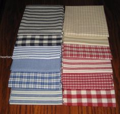 Dunroven House 12 Homespun Ticking / Plaids / Solid Fabric Fat Quarters  #DunrovenHouse
