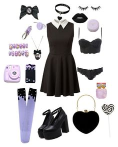 """Pastel Goth"" by princessmiffy ❤ liked on Polyvore featuring Tarina Tarantino, Lime Crime, Charlotte Russe, Huda Beauty and Polaroid"