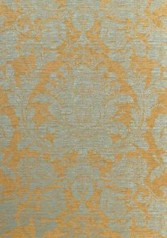 MUMFORD Aqua On Metallic Gold T7661 Collection Damask Resource 3 From Thibaut