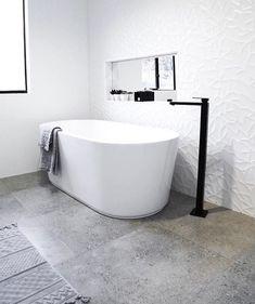 The home of featuring Meir's Square Freestanding Matte Black Bath Mixer Modern Small Bathrooms, Dream Bathrooms, Budget Bathroom, Bathroom Interior, Woodland House, Black Taps, Bath Mixer, Feature Tiles, Concrete Tiles