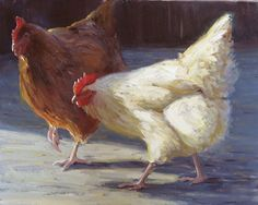 The Ladies by Kathleen Dunphy Oil ~ 16 x 20 Chicken Painting, Chicken Art, Chickens And Roosters, Pet Chickens, Stone Painting, Painting & Drawing, Arte Do Galo, Farm Animals, Cute Animals