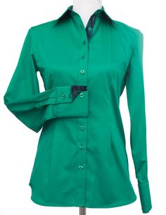 Women's CR Tradition Emerald Cotton Sateen with Navy Batik Contrast