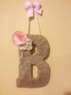 """Jute wrapped monogrammed letter """"B"""" for a country shabby chic girl baby shower."""