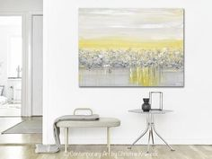 """Art Abstract Painting, """"Light and Peace"""" Giclee Print / Canvas Print of Original Yellow Grey Gold Abstract Painting Modern Contemporary Coastal Artwork Fine Art Palette Knife Paintings. Stunning coastal expressionist abstract w/ a pure feeling of light and warmth. Neutral living room wall art, home decor. Artist, Christine Krainock"""