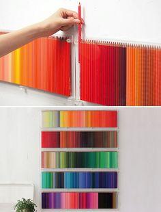 Colored pencil storage idea. Felicia Follum Art + Design Blog: Holiday Countdown/Advent Calendar