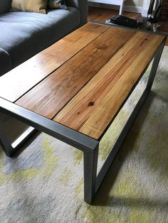 Reclaimed Wood and Metal Coffee Table . Reclaimed Wood and Metal Coffee Table . Steel and Timber Coffee Table In 2020 Coffee Table Plans, Steel Coffee Table, Reclaimed Wood Coffee Table, Rustic Coffee Tables, Cool Coffee Tables, Coffee Table Design, Rustic Table, Coffe Table, Wood Tables