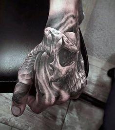 Ram Horn Skull Mens Hand Tattoos