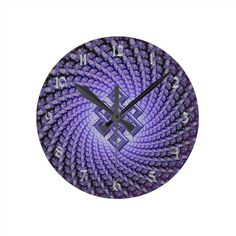 Purple Spral #Fractal #Celtic Diamond Round #Clock  #zazzle