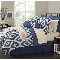 Navy Blue Comforter Sets Queen | ... -Comforter-Set-Durham-Navy-Blue-Soutwest-ensemble-Bedroom-King-Queen